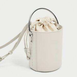 Zara pull string bucket bag